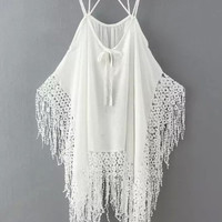 White Poncho Top with Crochet & Tassel Details