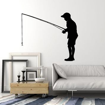 Vinyl Wall Decal Fishing Rod Hobby Fisher Boy Caught Fish Stickers Mural (g1359)
