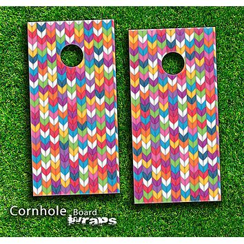 Colorful Knitted Skin-set for a pair of Cornhole Boards