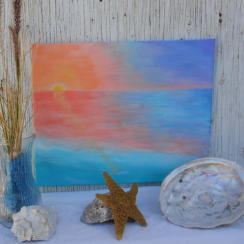 Original Painting - Seascape Painting - Hand Painted 16x20 Canvas - Sunrise Over Ocean