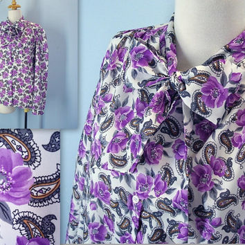 70 rose blouse - 1970s purple FLORAL blouse - bow ascot blouse - xl plus