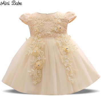 Aini Babe Baby Girl Dress 1 Years Birthday Lace Crochet Christening Gowns Baptism Clothes Fancy Kids Champagne Party Ball Dress