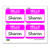 Sharon Hello My Name Is - Sheet of 4 Stickers