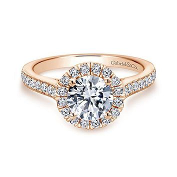 14K Rose Gold 1.47cttw Round Halo Diamond Engagement Ring with Bead Set Side Diamonds