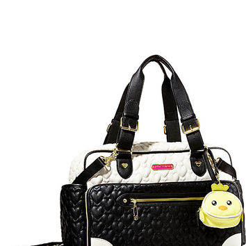 COLOR BLOCKING DIAPER BAG BLACK-WHITE