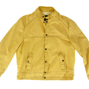 Vintage Racing Jacket in Yellow - Canvas Cafe Motorcycle 70's Outerwear Coat - Men's Size Large Lrg L