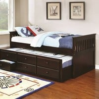 2 pc la salle ii collection transitional style espresso finish wood captains day bed with trundle with drawers