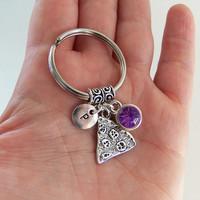 Personalized pizza keychain with stamped letter and birthstone, pizza key chain, pizza keyring, pizza key ring, slice of pizza, pizza gifts