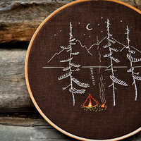 Hand embroidery patterns, Modern embroidery, camping embroidery, camping gift, wild and free by NaiveNeedle