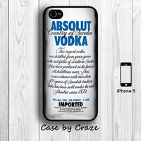 Absolut Vodka Bottle iPhone 5 / 5S Hard Case Wine Drinks iPhone 5 Back Cover --000038