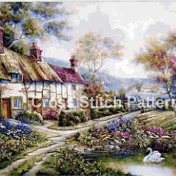Cross Stitch Pattern Design Cottage Landscape