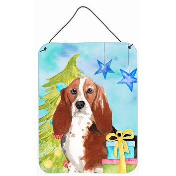 Christmas Tree Basset Hound Wall or Door Hanging Prints CK1890DS1216