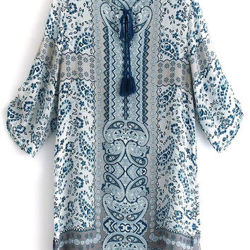 3/4 Sleeve V Neck Printed Dress