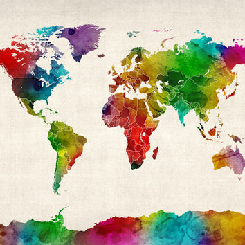 Watercolor Map of the World Map Canvas Print by ArtPause