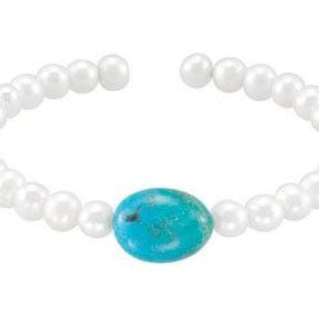 Turquoise & White Cultured Freshwater Pearl Cuff 7.5 Inch Bracelet - .925 Sterling Silver