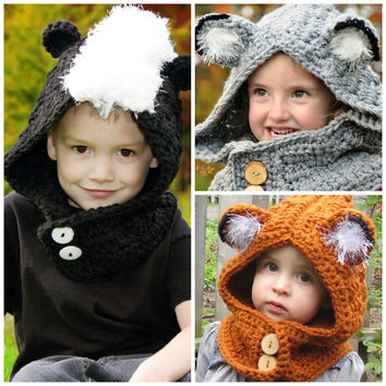 Woodland Friends Hooded Cowl Crochet Pattern pdf (Animal, Fox, Skunk, Wolf, Cat)