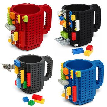 1Piece Build-On Brick Mug Lego Type Building Blocks Coffee Cup DIY Block Puzzle Mug 12oz  4 Colors