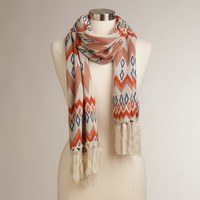 BLUE, ORANGE AND BROWN CHEVRON SCARF
