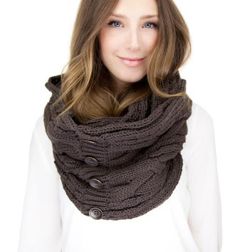 BROWN KNIT BUTTON knit scarf, infinity scarf with faux button closure, dark brown cable knit