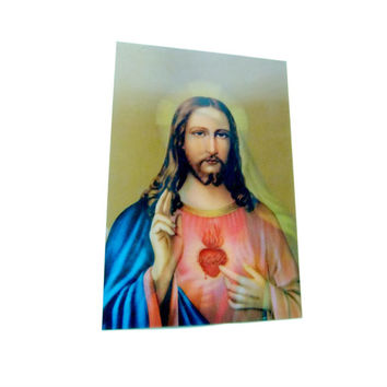 Holographic Print of Jesus and Mary Vintage 3D Religious Hologram on Flexible Plastic Circa 1980s