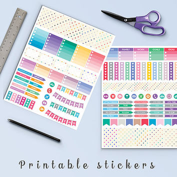 50% OFF Colorful Stars Stickers Printable Planner Stickers Erin Condren Box Stickers Page Flags Weekend Banners To Do Stickers Weekly Kit