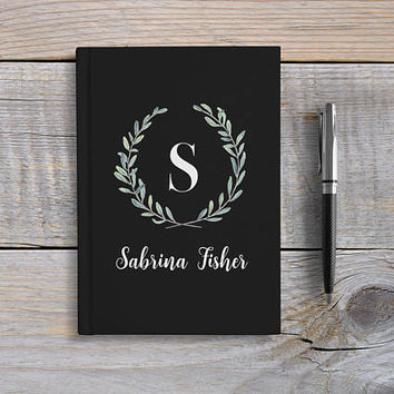 Custom Monogram journal, Writing Journal, Personalized Notebook hardcover, floral initial name book, black monogram, Blank or Lined pages