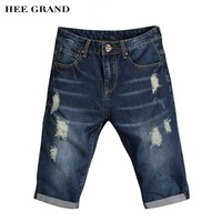 HEE GRAND Men Stylish Demin Shorts 2017 New Summer Knee-length Slim Fitted Breathable Hole Shorts Plus Size 27-36 MKN946