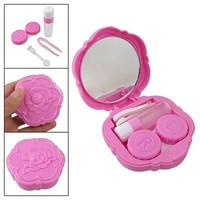 Rosallini Fuchsia Rose Design Plastic Contact Lens Case w Bottle
