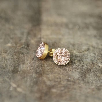 Rose Gold Druzy Studs, 10mm Druzy Earrings, Pink Gold Sparkle Posts, Rose Gold Earrings, Glitter Studs