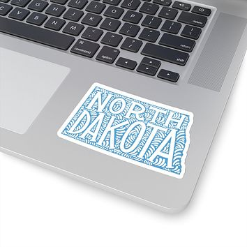 North Dakota State Shape Sticker Decal - Light Blue