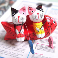 Wooden Small Size Fishing Cats Decoration Home Decor [6282381510]