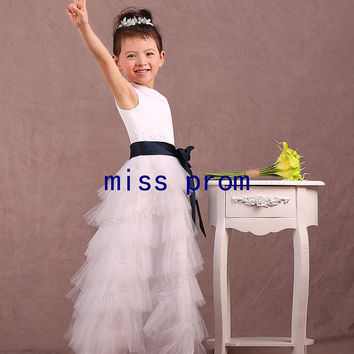 Jewel sleeveless floor-length tulle tiered with navy satin sash flower girl dress