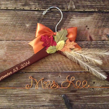 FALL Wedding Hanger / Autumn Bridal Hanger / Wedding Hanger / Rustic Hanger / Rustic Wedding / Fall Wedding / Bride Hanger / Mrs. Hanger