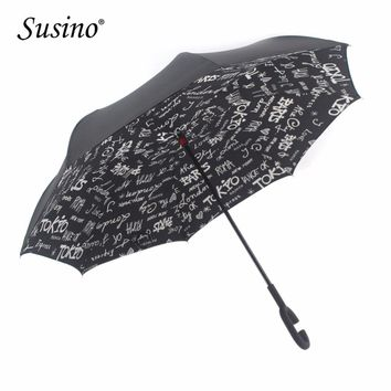 Susino Reverse Umbrella Double Layer Pongee Fabric Adults Umbrellas C-Hook Handle Car Umbrella Windproof Waterproof Useful