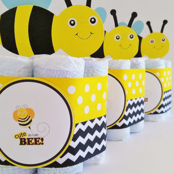 Bee Baby Shower Center pieces, Cute as a bee diaper cake, Mini Diaper Cake, Mommy to Bee, What's it gonna bee