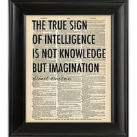 Quote Art Print EINSTEIN Inspirational Creativity Imagination Knowledge Typography Print on Antique 1930s English Dictionary Book Page 8x10