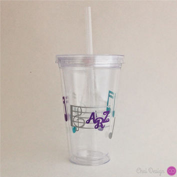 Music Note Tumbler with Initials. Line Clef Notes. Student. Teacher. Music Lover. A capella Choir Chorus Band. Graduation. Special Gift
