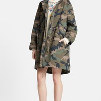 Women's Valentino Peace Embroidered Camo Print Anorak