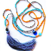 Long Beaded Lilac Tassel Necklace - Color Block Necklace