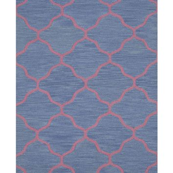 EORC Hand-tufted Wool Blue Traditional Trellis Moroccan Rug
