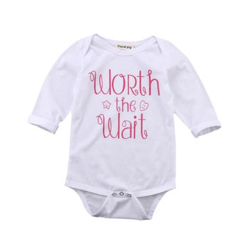Newborn Baby Boys Girls Infant Letter Print Jumpsuit Bodysuit Kids Clothes Outfit SM6