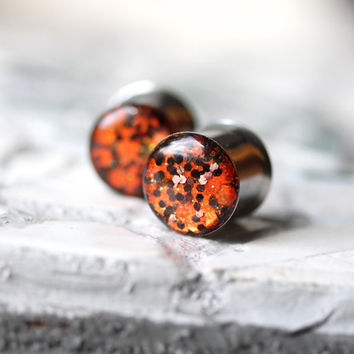Halloween Ear Gauges, Orange Glitter Gauges, Autumn Ear Plugs, Halloween Plugs - sizes 0g, 00g, 7/16, 1/2, 9/16, 5/8, 3/4, 7/8, 1""