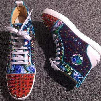Christian Louboutin CL Louis Spikes Style #1875 Sneakers Fashion Shoes Best Deal Online