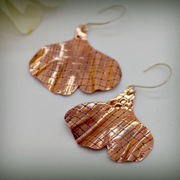 Ginkgo Leaf Earrings, Textured Copper with Subtle Cross Lines, Patina, Handmade Sterling Earring Hook