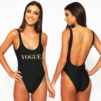 VOGUE Sexy Swimwear Women 2018 New Letter Print One Piece Swimsuit Summer Bodysuit High Cut Low Back Bathing Suit Plus Size Red