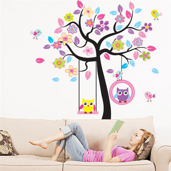 Owl Bird Swing Wall Stickers Tree For Kids Rooms