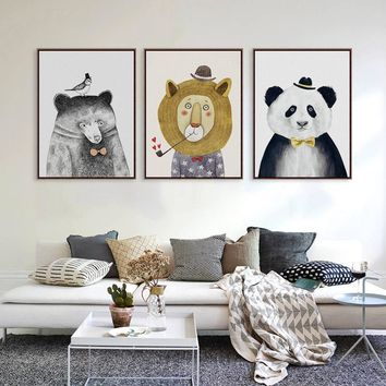 Triptych Watercolor Paintings Nordic Lion Bear Panda Minimalist Hipster Wall Art Picture Canvas Painting Living Room Home Decor