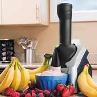 Yonanas Frozen Healthy Dessert Maker - 100% Fruit Soft-Serve Maker (Black and Silver)