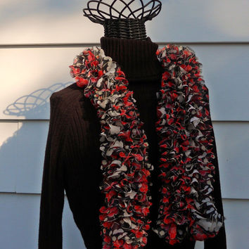 Japanese Plum Red Black Floral Print Knit Ruffle Scarf