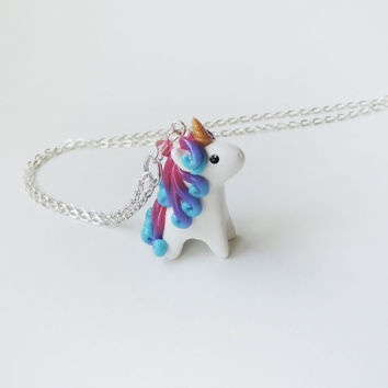 Bright Pink Blue Ombre Miniature Unicorn Charm Necklace